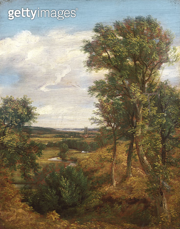 <b>Title</b> : Dedham Vale, 1802 (oil on canvas)Additional Infofrom Gun Hill, Langham, looking over the Stour valley; based on Claude Lorrain's<br><b>Medium</b> : oil on canvas<br><b>Location</b> : Victoria & Albert Museum, London, UK<br> - gettyimageskorea