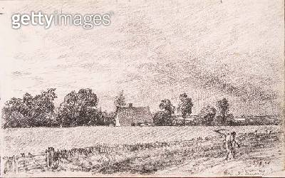 Cottages and road/ East Bergholt/ pencil - gettyimageskorea