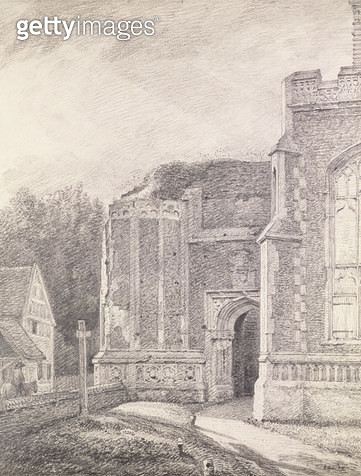 South Archway of the ruined tower of East Bergholt Church (pencil drawing) - gettyimageskorea