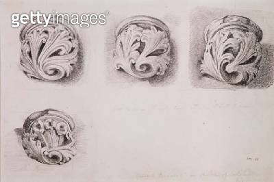 Corbels in Solihull Church/ Warwickshire (drawing) - gettyimageskorea