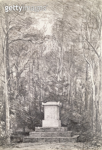 Cenotaph to Sir Joshua Reynolds at Coleorton Hall/ Leicestershire/ 1823 (pencil drawing) - gettyimageskorea