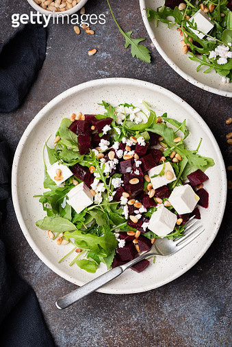 Healthy salad with beet, arugula and feta cheese - gettyimageskorea