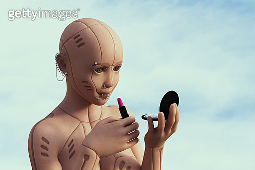 Robot woman with pierced face applying lipstick - gettyimageskorea