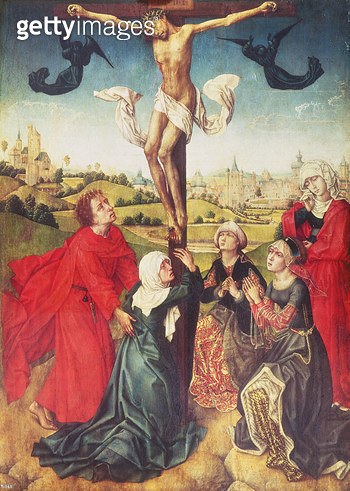 <b>Title</b> : Crucifixion, c.1510 (oil on panel)<br><b>Medium</b> : oil on panel<br><b>Location</b> : Prado, Madrid, Spain<br> - gettyimageskorea