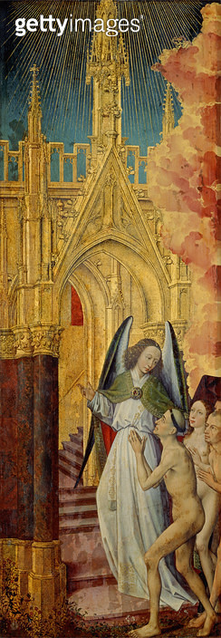<b>Title</b> : The Good being led to Heaven, detail from The Last Judgement, c. 1451 (oil on panel) (see 20546-50 and 21041)<br><b>Medium</b> : oil on panel<br><b>Location</b> : Hotel Dieu, Beaune, France<br> - gettyimageskorea