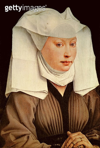 <b>Title</b> : Portrait of a Young Woman in a Pinned Hat, c.1435<br><b>Medium</b> : oil on oak panel<br><b>Location</b> : Gemaldegalerie, Berlin, Germany<br> - gettyimageskorea