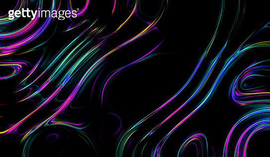 Abstract Colorful Neon Marbled background, fluid paint art, wavy wallpaper, neon green violet lines, artistic black backdrop, Pattern Abstract Wave Texture Ebru Effect Ombre Bright Gradient - gettyimageskorea