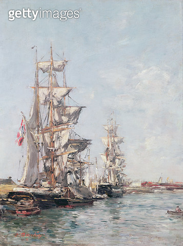<b>Title</b> : Three-masted Boats at the Quay in Deauville Harbour, c.1888-89 (oil on panel)Additional InfoTrois-mats a quai dans la Bassin de<br><b>Medium</b> : oil on panel<br><b>Location</b> : Private Collection<br> - gettyimageskorea