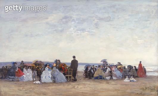 <b>Title</b> : Beach Scene near Trouville, c.1863-66 (oil on canvas)Additional InfoScene de Plage aux environs de Trouville;<br><b>Medium</b> : oil on canvas<br><b>Location</b> : Private Collection<br> - gettyimageskorea