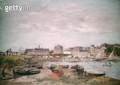 <b>Title</b> : View of the Port, Trouville, 14th October 1896 (oil on canvas)<br><b>Medium</b> : oil on canvas<br><b>Location</b> : Private Collection<br> - gettyimageskorea