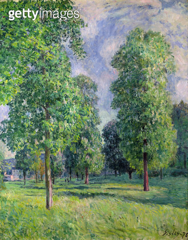 <b>Title</b> : Landscape at Sevres, 1878 (oil on canvas)<br><b>Medium</b> : oil on canvas<br><b>Location</b> : Private Collection<br> - gettyimageskorea