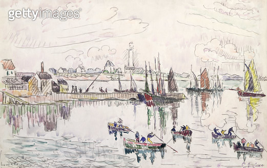 <b>Title</b> : The Port of Lomalo, Brittany, 1922 (w/c & pencil on paper)Additional InfoLe Port de Lomalo, Bretagne;<br><b>Medium</b> : watercolour and pencil on paper<br><b>Location</b> : Private Collection<br> - gettyimageskorea
