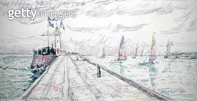 <b>Title</b> : Les Sables d'Olonne, 1929 (w/c & pencil on paper)<br><b>Medium</b> : watercolour and pencil on paper<br><b>Location</b> : Private Collection<br> - gettyimageskorea