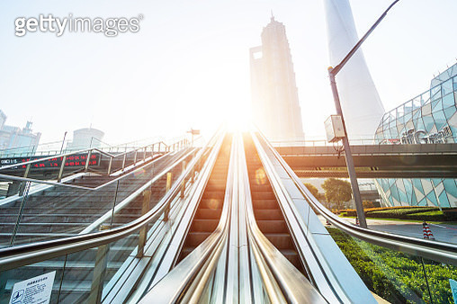 Elevator in Shanghai Lujiazui Financial District - gettyimageskorea