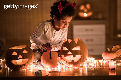 Small African American boy on Halloween at home. - gettyimageskorea
