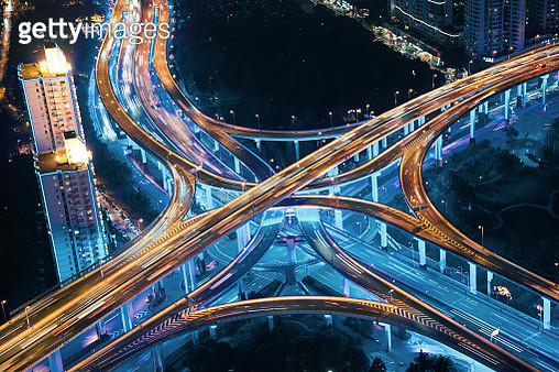 Aerial view of Shanghai's highway at night. - gettyimageskorea