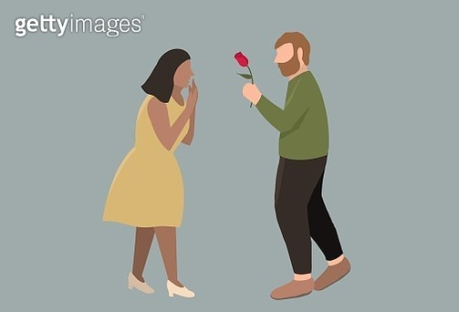 love, long distance love, valentine's day, women, man, couple, flat images, heart motif, rose - gettyimageskorea