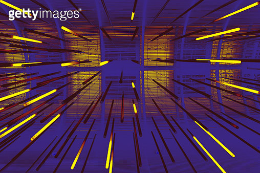 Manipulated image of hanging decorative rod-shape materials - gettyimageskorea