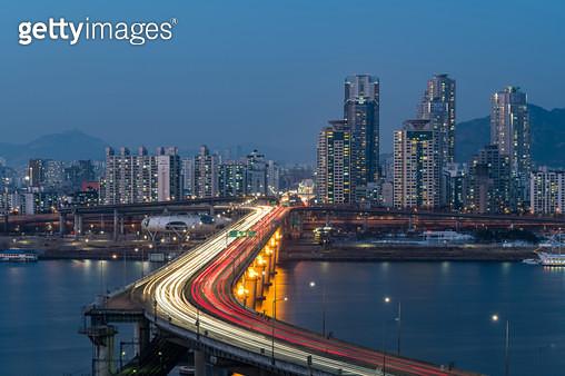 청담대교 야경, 서울시 광진구 자양동 - gettyimageskorea