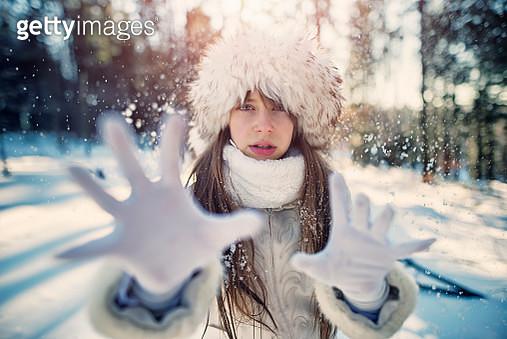 Portrait of lady winter in forest - gettyimageskorea