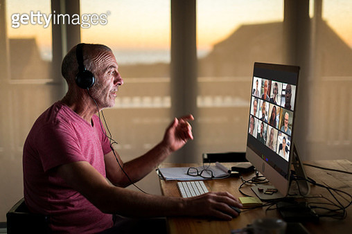 Businessman on video call from home during lockdown - gettyimageskorea