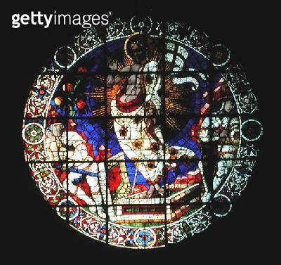 <b>Title</b> : Oculus depicting The Resurrection, 1443 (stained glass)Additional InfoCathedral Santa Maria del Fiore;<br><b>Medium</b> : stained glass<br><b>Location</b> : Duomo, Florence, Italy<br> - gettyimageskorea
