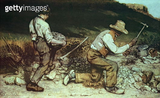 <b>Title</b> : The Stone Breakers, 1849 (oil on canvas) (destroyed in 1945)<br><b>Medium</b> : oil on canvas<br><b>Location</b> : Galerie Neue Meister, Dresden, Germany<br> - gettyimageskorea