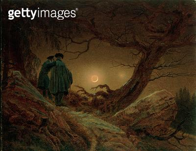 <b>Title</b> : Two Men Contemplating the Moon, c.1819-20 (oil on canvas)Additional InfoZwei Maenner in Betrachtung des Mondes;<br><b>Medium</b> : oil on canvas<br><b>Location</b> : Galerie Neue Meister, Dresden, Germany<br> - gettyimageskorea