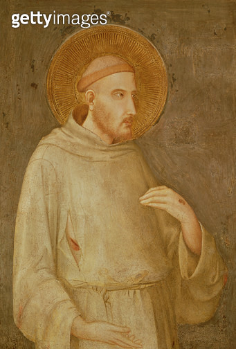 <b>Title</b> : St. Francis (fresco)<br><b>Medium</b> : fresco<br><b>Location</b> : San Francesco, Lower Church, Assisi, Italy<br> - gettyimageskorea