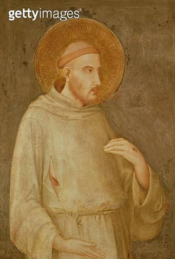 <b>Title</b> : St. Francis (fresco)<br><b>Medium</b> : fresco<br><b>Location</b> : San Francesco, Lower Church, Assisi, Italy<br> - gettyimageskorea