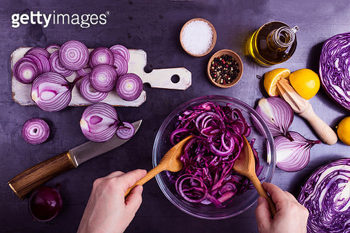 Ultra violet. Preparation of vegetables salad - gettyimageskorea