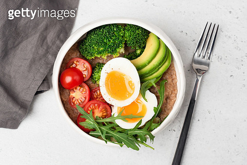 Healthy Buddha Bowl With Egg - gettyimageskorea