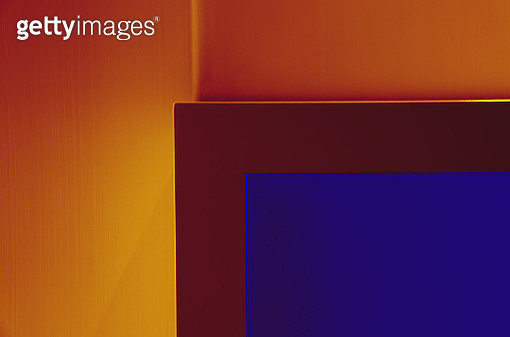 Color manipulated image of frame against wall - gettyimageskorea
