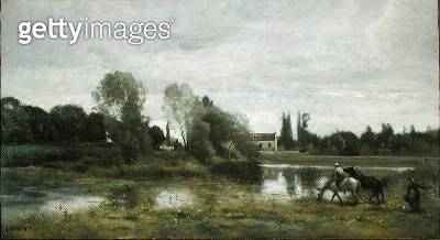 <b>Title</b> : Ville d'Avray, Horses Watering, c.1860-65 (oil on canvas)<br><b>Medium</b> : oil on canvas<br><b>Location</b> : Private Collection<br> - gettyimageskorea