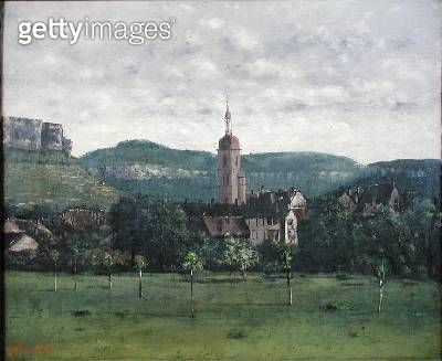 <b>Title</b> : Landscape with Church (oil on canvas)<br><b>Medium</b> : oil on canvas<br><b>Location</b> : Private Collection<br> - gettyimageskorea