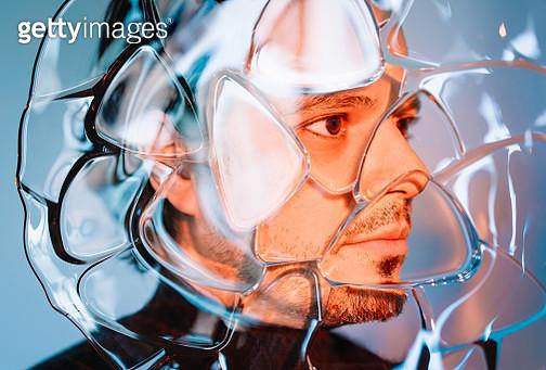 Close-Up Portrait Of Man Behind Glass - gettyimageskorea