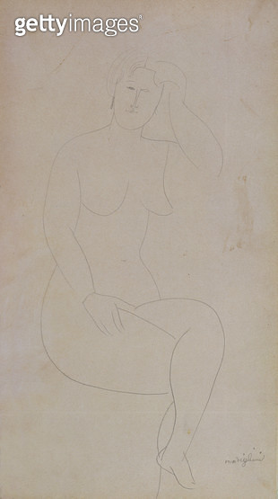 <b>Title</b> : Nude Standing Girl (Legs Crossed) (pencil on paper)<br><b>Medium</b> : pencil on paper<br><b>Location</b> : Private Collection<br> - gettyimageskorea