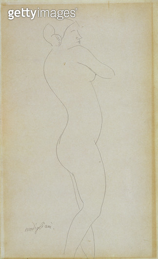 <b>Title</b> : Nude Standing Girl (pencil on paper)<br><b>Medium</b> : pencil on paper<br><b>Location</b> : Private Collection<br> - gettyimageskorea