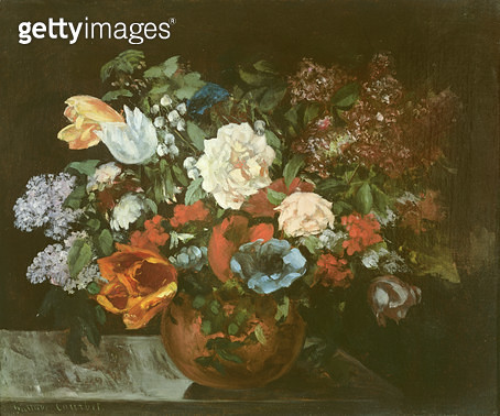 <b>Title</b> : Bouquet of Flowers, 1863 (oil on canvas)<br><b>Medium</b> : oil on canvas<br><b>Location</b> : Private Collection<br> - gettyimageskorea