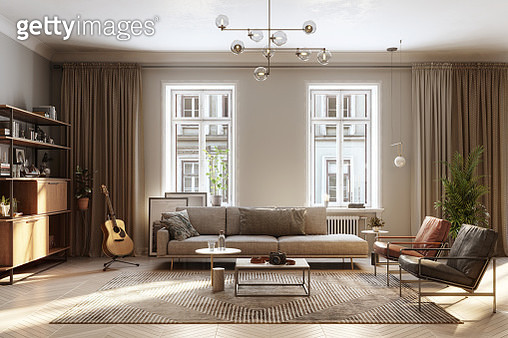 Large luxury modern interiors of a living room. 3D rendering computer digitally generated image of fully furnished living room. - gettyimageskorea