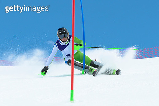 Young Male Skier at Slalom Ski Race - gettyimageskorea