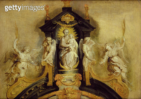 The Virgin and Child enthroned with Angels - gettyimageskorea
