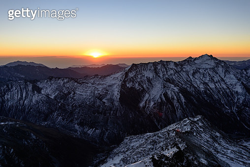 Sunset over mountains, Aba, Sichuan, China - gettyimageskorea