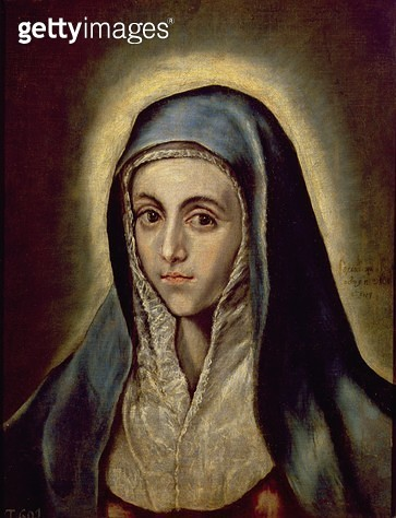 <b>Title</b> : The Virgin Mary, c.1594-1604 (oil on canvas)<br><b>Medium</b> : oil on canvas<br><b>Location</b> : Prado, Madrid, Spain<br> - gettyimageskorea