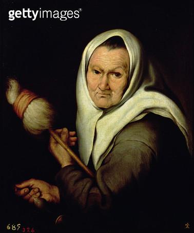 <b>Title</b> : An Old Woman Spinning (oil on canvas)<br><b>Medium</b> : oil on canvas<br><b>Location</b> : Prado, Madrid, Spain<br> - gettyimageskorea