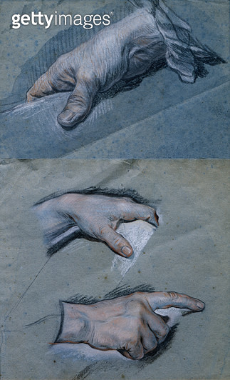 <b>Title</b> : Study of the Hands of a Man (pastel on paper)<br><b>Medium</b> : pastel on paper<br><b>Location</b> : Musee Antoine Lecuyer, Saint-Quentin, France<br> - gettyimageskorea