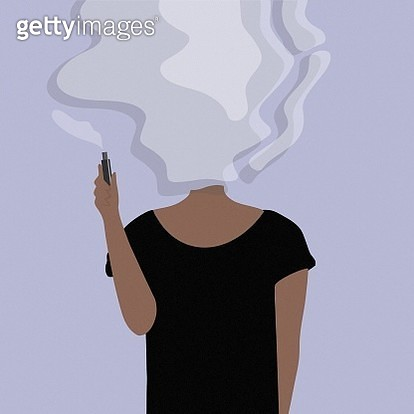 Young women smoking electronic cigarette. - gettyimageskorea