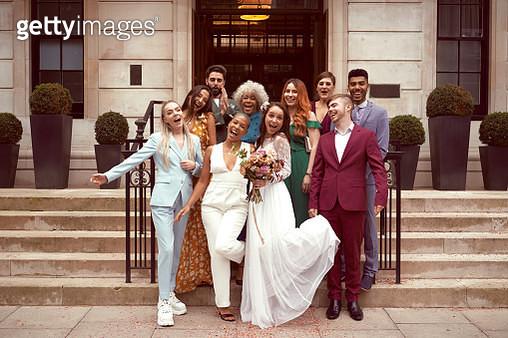 Lesbian wedding with friends - gettyimageskorea