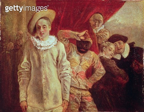 <b>Title</b> : Harlequin, Pierrot and Scapin, Actors from the Commedia dell'Arte (oil on canvas)<br><b>Medium</b> : oil on canvas<br><b>Location</b> : Waddesdon Manor, Buckinghamshire, UK<br> - gettyimageskorea