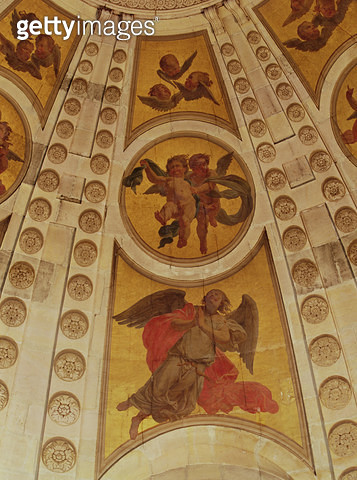 <b>Title</b> : Detail of angels from the dome, built 1635-42 (wall painting) (detail of 221335)<br><b>Medium</b> : wall painting<br><b>Location</b> : Chapelle de la Sorbonne, Paris, France<br> - gettyimageskorea
